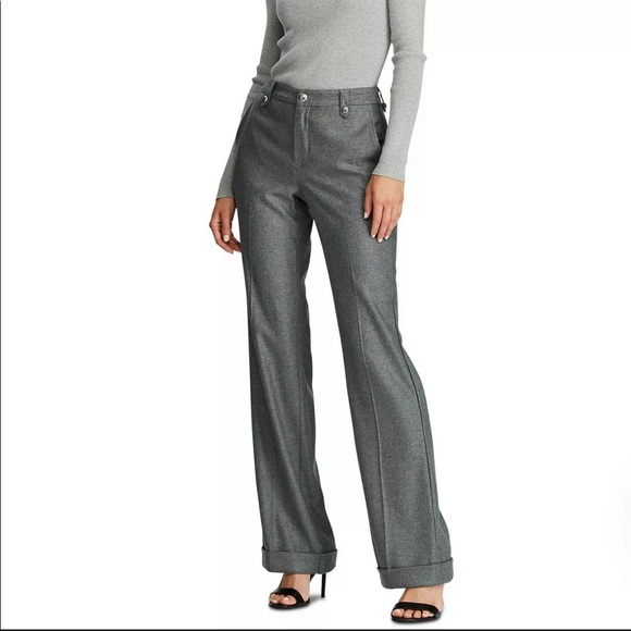 Ralph Lauren Women's Wide Leg Grey Dress Pants 12